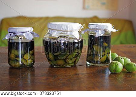 Nocino Jars Italian Liqueur Made With Unripe Walnuts