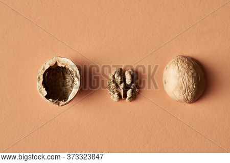 Walnut Shell And Walnut Isolated On Beige Background, Conceptual Photography For Food Blog Or Advert