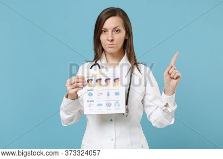 Doctor Woman Female In White Medical Suit Gown Hold Card With Symptom Contagion Prevention Isolated