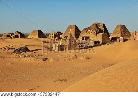 The Ancient Pyramids Of Meroe In Sahara Desert, Sudan