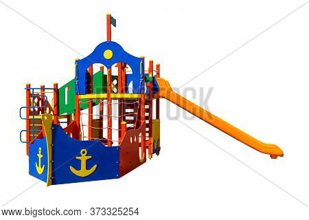 Game Complex In Shape Of Ship With Slide And  Ladders. Equipment For Playground. Shadowless Isolated