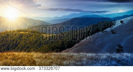 Day And Night Time Change Concept In Mountain Landscape. Grassy Meadow On The Hillside. Beech Forest