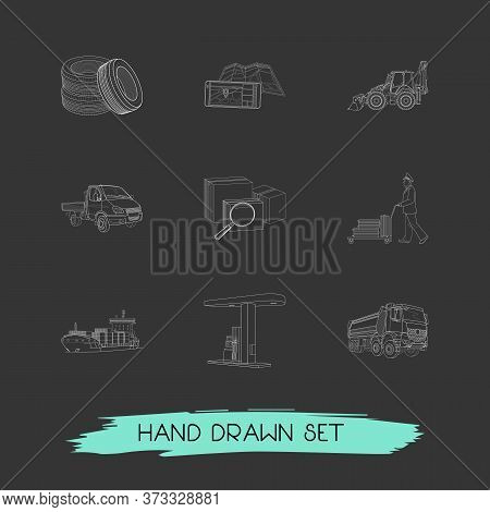 Set Of Transport Icons Line Style Symbols With Search Box, Porter, Dump Truck And Other Icons For Yo