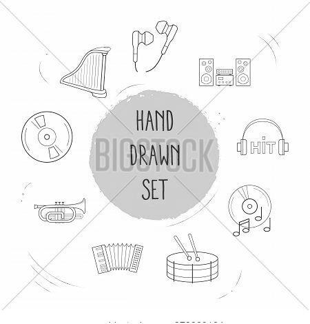 Set Of Studio Icons Line Style Symbols With Sound System, Harp, Cornet And Other Icons For Your Web