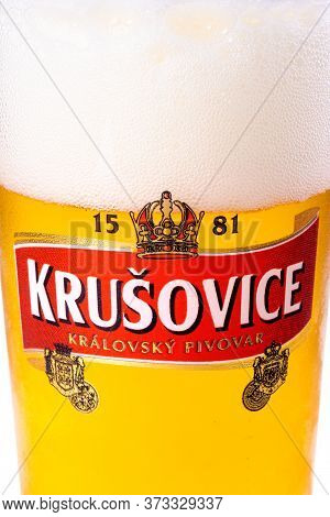 Uzhgorod, Ukraine - Sep 02, 2015: Czech Light Beer. Logo Of A Popular Krusovice Brand On A Glass. Wh