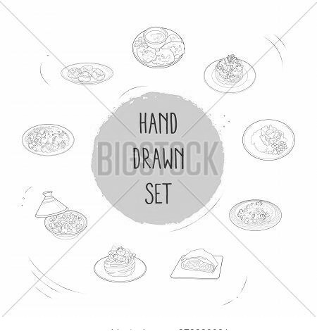 Set Of World Cuisine Icons Line Style Symbols With Nutrition, Finnish Sauted Reindeer, Danish Meatba