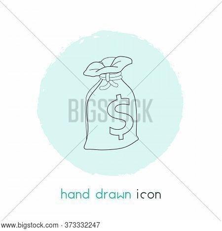 Sack Of Dollars Icon Line Element. Illustration Of Sack Of Dollars Icon Line Isolated On Clean Backg