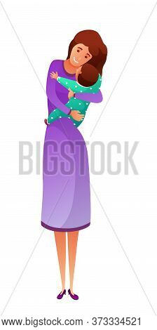 Young Happy Mother Holding Newborn On Hand Hugging Little Baby. Mom Carry Loving Child Embrace Toddl