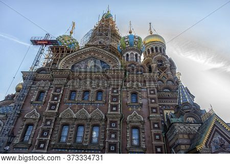Russia, St. Petersburg, 22,09-2017 The Facade Of The Cathedral Of The Savior On The Blood