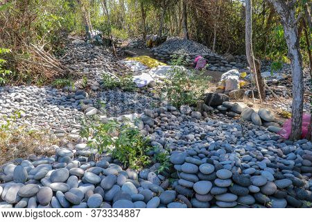 Selection Of Large Stones. Pattern Of Round Pebble Stone. Background Of The River Rock Pebbles. Sea