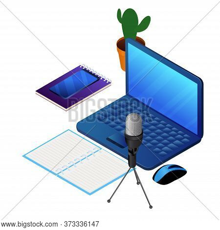 Podcast Concept Illustration. Laptop And Microphone For Audio Recording. Music, Webinar Or Online Tr