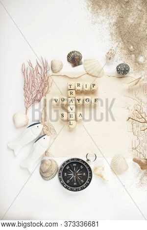 Travel, Nautical Concept.letters Insriptions Trip, Sea, Voyage, Travel.top View With Copy Mock Up Sp