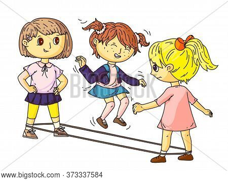 Little Girl Friends Jumping Through Elastic Band. Female Yard Active Game. Playground Or Park Activi