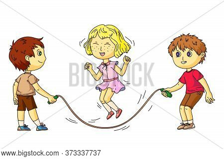 Kids Group Playing With Jumping Rope. Girl Hop Through Rope Isolated On White. Two Boys Friends Hold