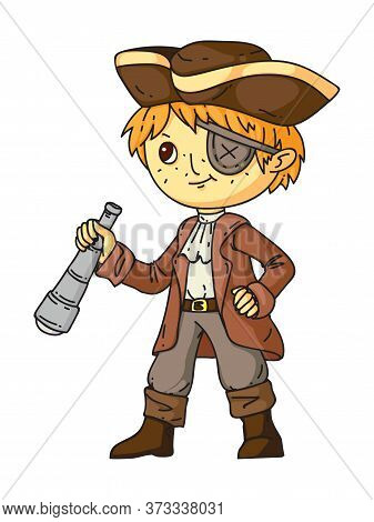 Boy In Pirate Costume, Hat, Piratic Blindfold And With Spyglass Standing On White. Historical And Fa