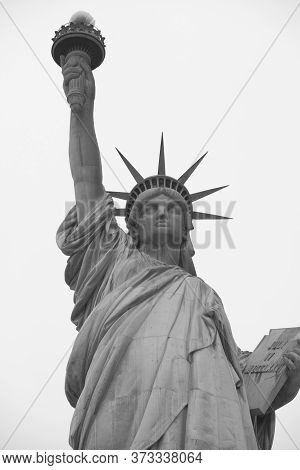 Statue Of Liberty In Black And White On Liberty Island. Manhattan. New York City. Usa