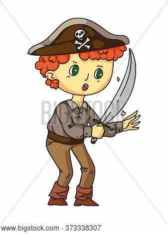 Little Boy Pirate With Sward In Hand, Earring In Ear Standing Isolated On White. Sailor Costume For