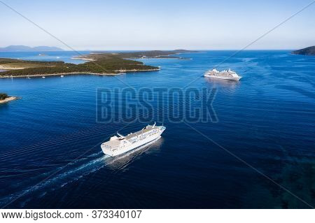 Croatia. Aerial View At The Cruise Ship At The Day Time. Adventure And Travel.  Landscape With Cruis