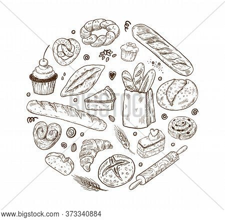 Vector Illustration For Bakery Shops. Round Shape Composition From Hand Drawn Bread In Sketch Style.