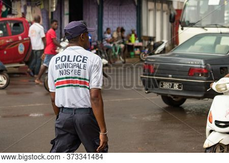 Nosy Be, Madagascar - January 17th, 2019: A Police Officer Of The Police Municipale At The City Cent