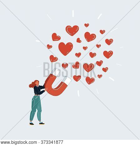 Vector Illustration Of Woman Attracting Love And Likes With Big Magnet. Social Approval, Dating On W
