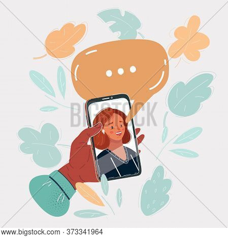 Vector Illustration Of Womans Face On Smartphon Screen, Speech Bubble Above. Person Using A Mobile P