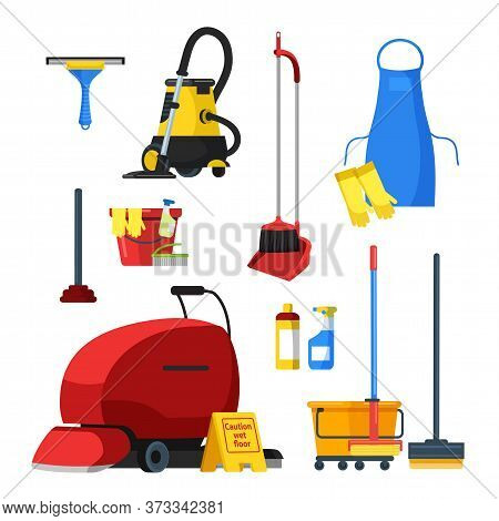 Cleaning Supplies Tools Equipment Accessories Flat Set. Buckets, Tools, Brush, Vacuum Cleaner, Mop,
