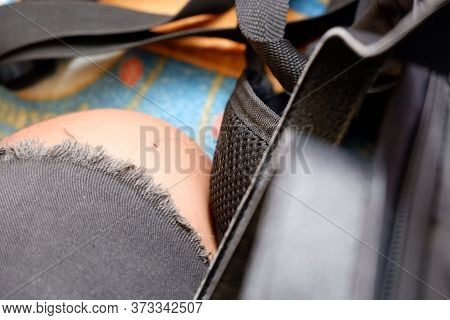 Mans Leg With Torn Jeans, Hip Hop Fashion Style, Accessories, And Bag. Street Fashion, Backpacker, W