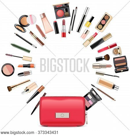Vector Round Makeup Concept With Beautician Isolated On White Background