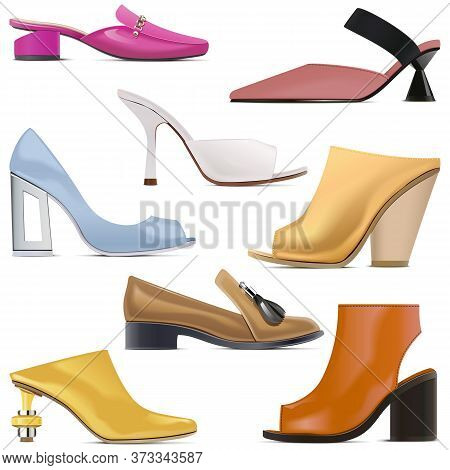Vector Spring Female Shoes Icons Isolated On White Background