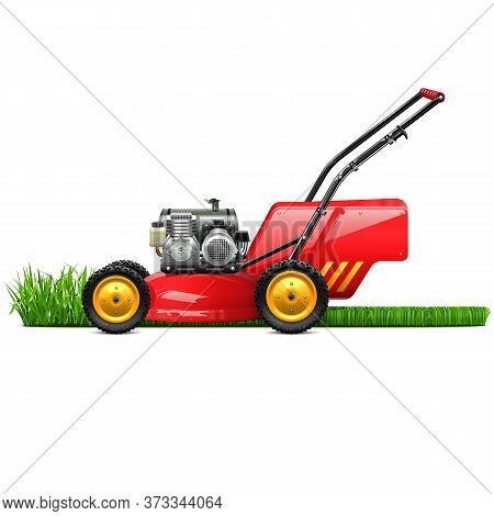 Vector Lawn Mower With Grass Isolated On White Background