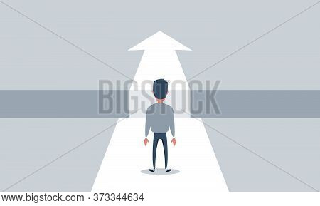Business Challenge And Solution Vector Concept With Businessman Standing Over Big Gap. Symbol Of Ove