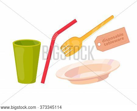 Set Of Plastic Disposable Tableware. Cup, Plate, Fork, Straw. Vector Cartoon Flat Illustration Isola