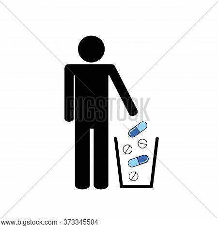 Man Throws Tablets In The Rubbish Bin Vector Illustration Eps10