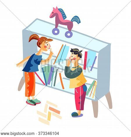Kids Standing Behind Rack With Shelves Gesturing Silence Sign Hiding From Friends Playmates. Happy C