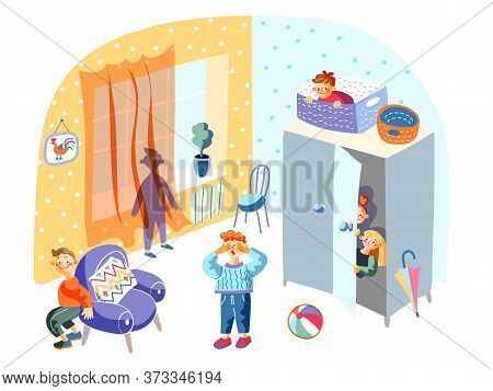 Hide-and-sick Children Funny Game In Kindergarten. Kids Playing And Having Fun In Playroom. Boys And