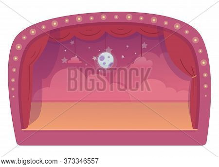 Empty Scene Decorated For Children Performance. Pink Clouds, Moon, Starry Sky Fairy Decoration. Red