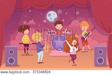 Children Music Band Performing On Concert Scene. Kids Playing Musical Instruments And Singing. Synth