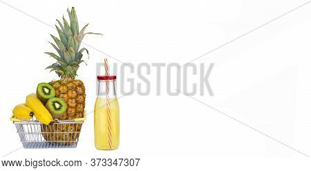 Fruit And Vegetables Smoothie, Healthy Juicy Vitamin Drink Diet Or Vegan Food Concept, Fresh Vitamin