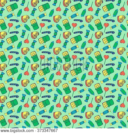 Vector Seamless Pattern With Candy. Repeat Pattern Design. With Chocolate, Lollipop, Sweet And Caram