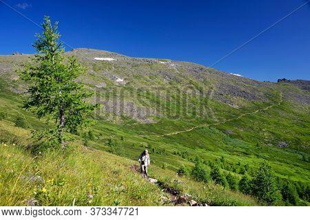Trekker in Altai Mountains, Siberia, Russian Federation