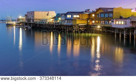 Blue Hour Over Old Fisherman Wharf In Monterey California