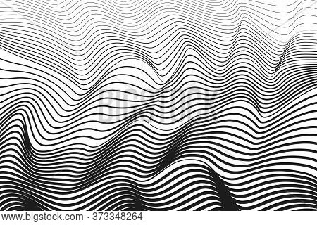 Black Squiggle Curves, White Background. Abstract Line Art Design. Vector  Techno Optical Illusion.