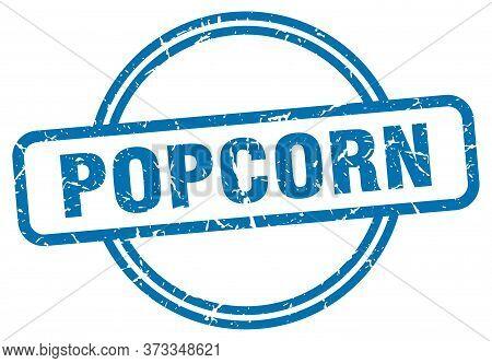 Popcorn Stamp. Popcorn Round Vintage Grunge Sign. Popcorn