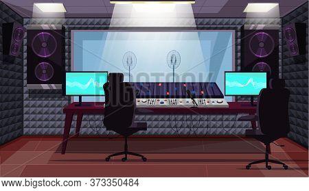 Empty Sound Recording Studio With Professional Equipment. Computer, Mixing Console, Loudspeakers, Mi