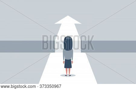 Business Challenge And Solution Vector Concept With Businesswoman Standing Over Big Gap. Symbol Of O