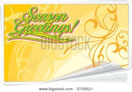 Season Greetings Summer Background With Floral Ornament