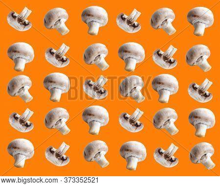 Champignon Mushrooms Champignon Mushroom On An Orange Background, Pattern, Printable Template. High