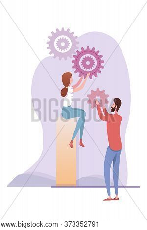 Cartoon Man And Woman Coworkers Partners Regulating Gear Wheels. Teamwork Metaphor. Ideas Generation