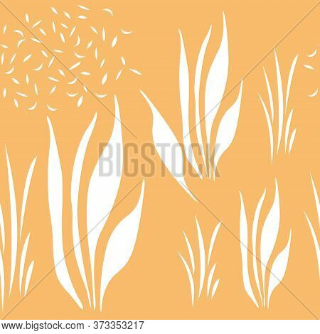 Seamless Pattern In White Abstract Plants. Simple Background For Textiles, Pattern Fills, Covers, Su